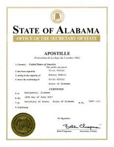 apostille Alabama